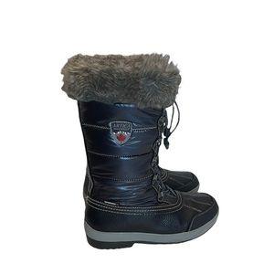 Artica slip on waterproof winter faux fur lined rubber sole blue boots size 9